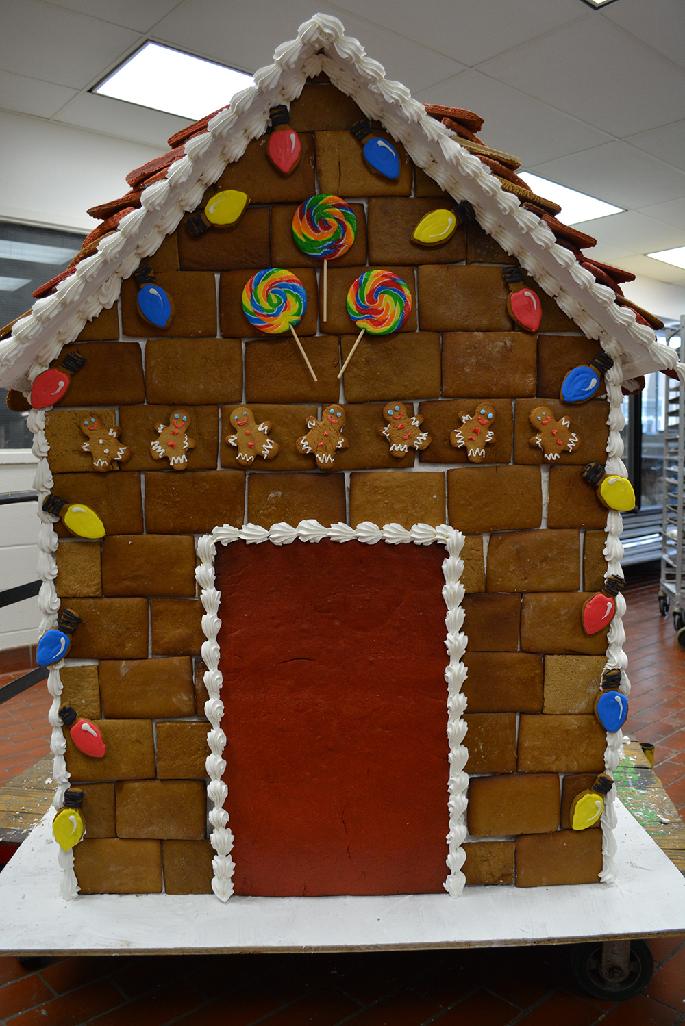 The gingerbread house nearly done.